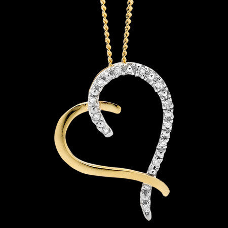 9 KARAT GOLD 13 DIAMONDS HEART NECKLACE