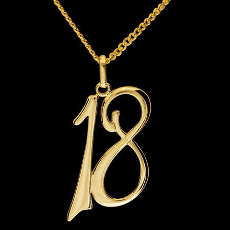 9 KARAT GOLD 18TH BIRTHDAY ANNIVERSARY NECKLACE