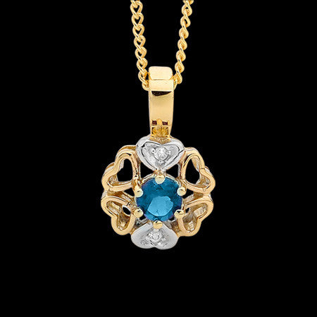 9 KARAT GOLD BLUE TOPAZ DIAMOND HEART FLOWER NECKLACE