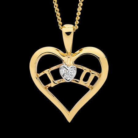 9 KARAT GOLD I LOVE YOU CZ HEART NECKLACE