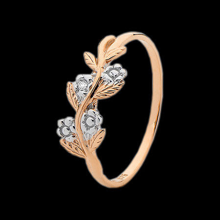 9 KARAT ROSE GOLD DIAMOND FORGET ME NOT RING