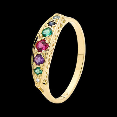 9 KARAT GOLD DEAREST SEVEN PRECIOUS GEMS RING