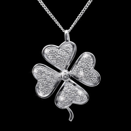 STERLING SILVER CZ LUCKY FOUR LEAF CLOVER NECKLACE