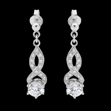STERLING SILVER CZ INFINITY DROP SOLITAIRE EARRINGS