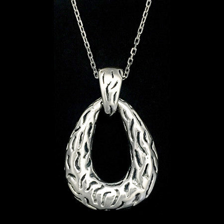 STERLING SILVER ELECTRO-FORM TEXTURED TEARDROP NECKLACE
