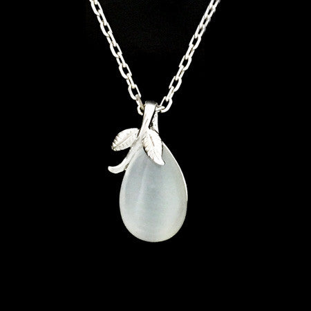 STERLING SILVER CAT'S EYE LEAF NECKLACE