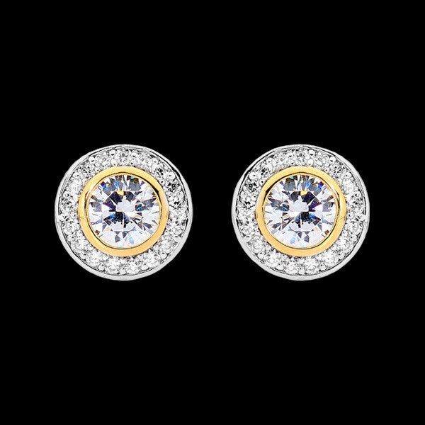ELLANI STERLING SILVER HALO PAVED CZ BEZEL GOLD EARRINGS