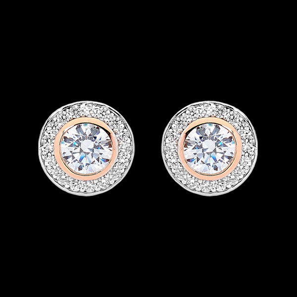 ELLANI STERLING SILVER HALO PAVED CZ BEZEL ROSE GOLD EARRINGS