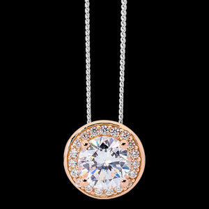 ELLANI STERLING SILVER SOLITAIRE CZ ROSE GOLD RIM NECKLACE