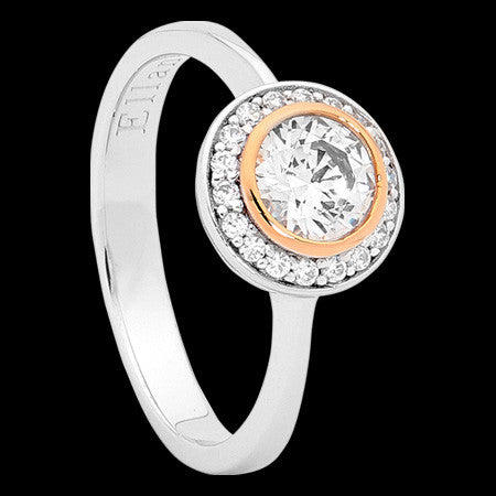 ELLANI STERLING SILVER HALO PAVE CZ BEZEL ROSE GOLD RING