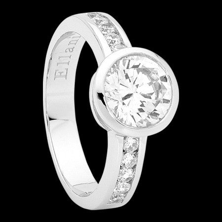 ELLANI STERLING SILVER SOLITAIRE BEZEL CZ CHANNEL RING