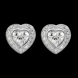 ELLANI STERLING SILVER HEART BEZEL SET CZ EARRINGS