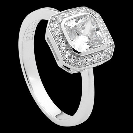 ELLANI STERLING SILVER CUSHION CZ PAVE RING