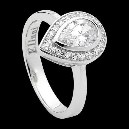 ELLANI STERLING SILVER PEAR CZ HALO RING