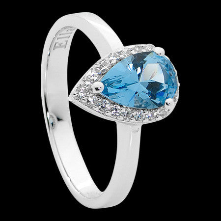 ELLANI STERLING SILVER PEAR SKY BLUE CZ PAVE RING