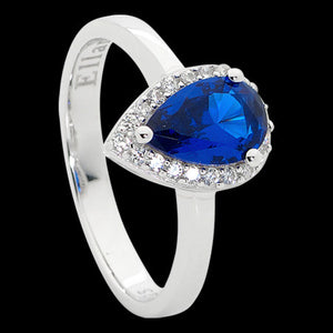 ELLANI STERLING SILVER PEAR SAPPHIRE CZ PAVE RING