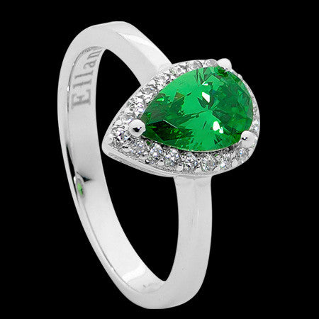 ELLANI STERLING SILVER PEAR EMERALD CZ PAVE RING