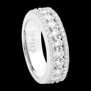 ELLANI STERLING SILVER PAVE CHANNEL CZ ETERNITY RING