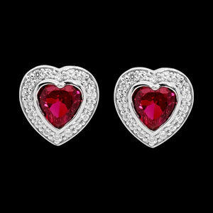 ELLANI STERLING SILVER HEART RUBY CZ PAVE EARRINGS
