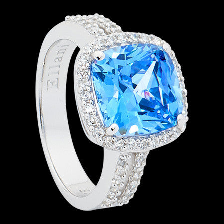 ELLANI STERLING SILVER CUSHION HALO DOUBLE SHANK SWISS BLUE CZ RING