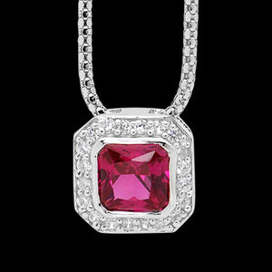 ELLANI STERLING SILVER CUSHION RUBY CZ PAVE NECKLACE