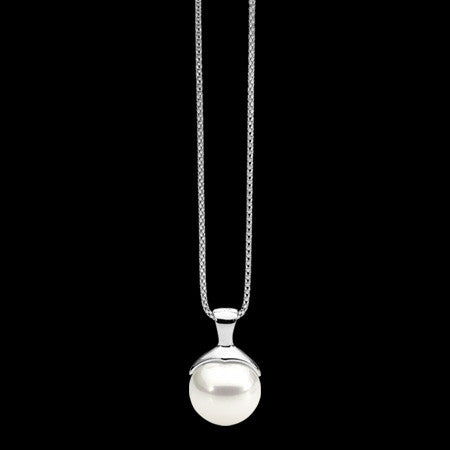 ELLANI STERLING SILVER WHITE PEARL NECKLACE