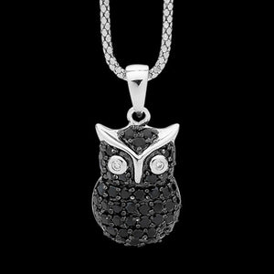 ELLANI STERLING SILVER PAVE BLACK CZ OWL NECKLACE