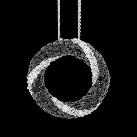 ELLANI STERLING SILVER PAVE BLACK CZ TWIST CIRCLE NECKLACE