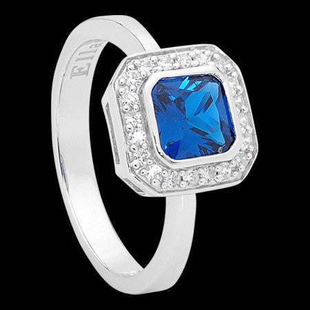 ELLANI STERLING SILVER CUSHION SAPPHIRE CZ PAVE RING