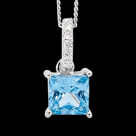 ELLANI STERLING SILVER PRINCESS SWISS BLUE CZ NECKLACE
