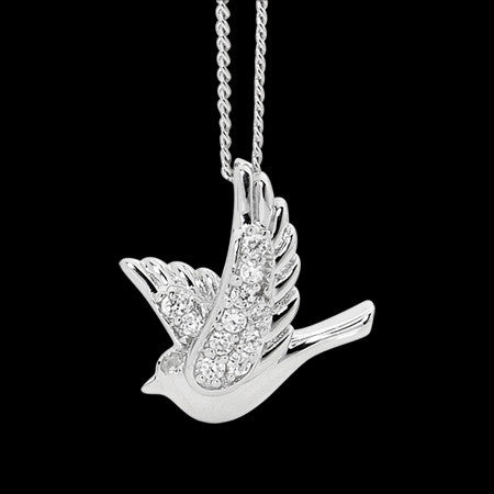 ELLANI STERLING SILVER PEACE DOVE CZ NECKLACE
