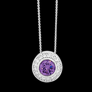 ELLANI STERLING SILVER HALO AMETHYST CZ BEZEL NECKLACE