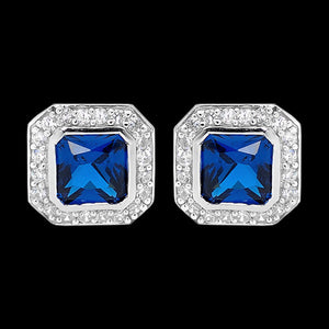 ELLANI STERLING SILVER CUSHION SAPPHIRE CZ PAVE EARRINGS