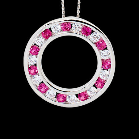 ELLANI STERLING SILVER CHANNEL CIRCLE RUBY CZ NECKLACE