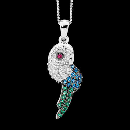 ELLANI STERLING SILVER CZ PRETTY PARROT NECKLACE