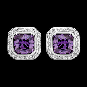 ELLANI STERLING SILVER CUSHION AMETHYST CZ PAVE EARRINGS