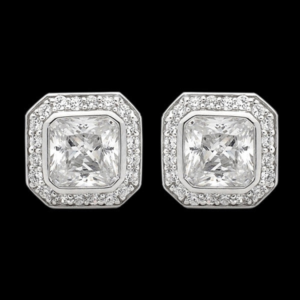 ELLANI STERLING SILVER CUSHION CZ PAVE EARRINGS