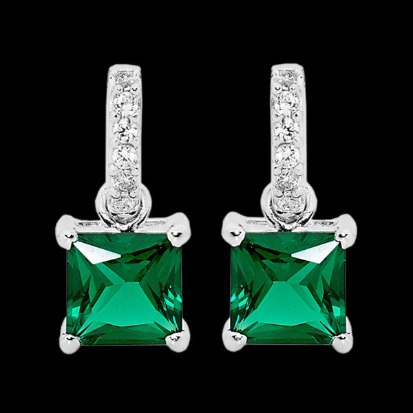 ELLANI STERLING SILVER PRINCESS EMERALD CZ EARRINGS
