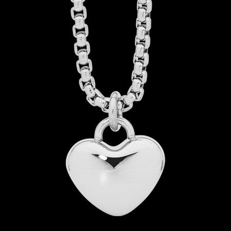 ELLANI STAINLESS STEEL HIGH POLISH HEART SOLITAIRE NECKLACE