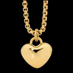 ELLANI STAINLESS STEEL HIGH POLISH GOLD IP HEART SOLITAIRE NECKLACE