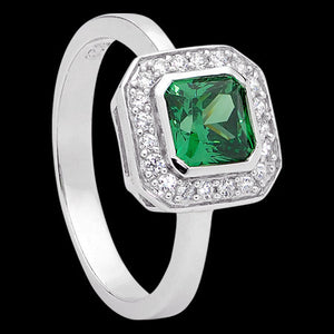 ELLANI STERLING SILVER CUSHION EMERALD CZ PAVE RING