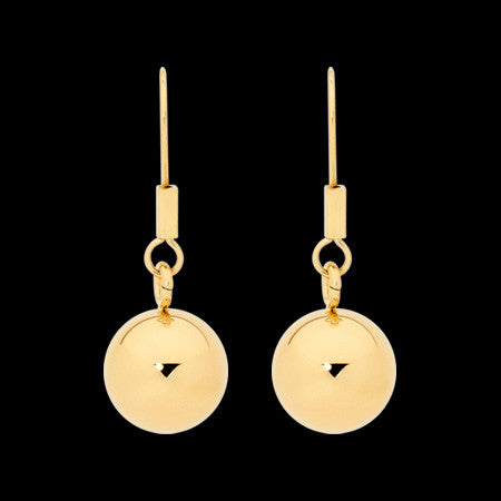 ELLANI STAINLESS STEEL HIGH POLISH GOLD IP BALL DROP EARRINGS