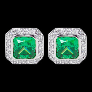 ELLANI STERLING SILVER CUSHION EMERALD CZ PAVE EARRINGS