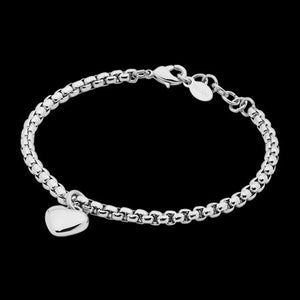 ELLANI STAINLESS STEEL HEART SOLITAIRE CHAIN BRACELET