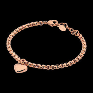 ELLANI STAINLESS STEEL ROSE GOLD IP HEART SOLITAIRE CHAIN BRACELET