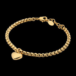 ELLANI STAINLESS STEEL GOLD IP HEART SOLITAIRE CHAIN BRACELET