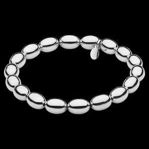 ELLANI STAINLESS STEEL HIGH POLISH OVAL BEAD BRACELET