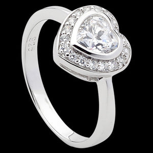 ELLANI STERLING SILVER HEART CZ PAVE RING