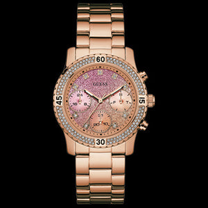 GUESS CONFETTI ROSE GOLD LADIES SPORT WATCH