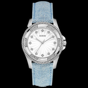 GUESS PINWHEEL SKY BLUE CHAMBRAY DENIM LADIES SPORT WATCH